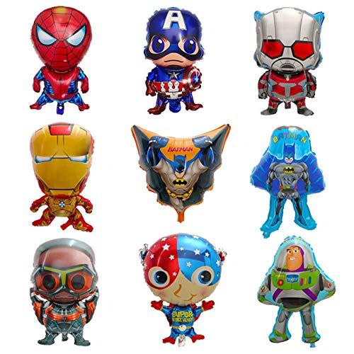 JSJJATQ Globos 10 unids Globos de lámina Hierro-Hombre Spider-Man Batman Baby Shower Fiesta de cumpleaños Decoraciones de la Fiesta de los niños Globo Globo (Color : Mix)