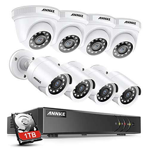 ANNKE Surveillance Camera System 8CH 5MP Lite H.265+ DVR with (8) HD 1080P Outdoor Weatherproof CCTV Security Camera System, 1TB Surveillance Hard Drive, Email Alert with Snapshots-S300