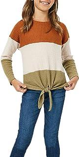 Girls Waffle Colorblock Tie Top Long Sleeve Casua T Shirt...
