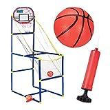 Relaxdays Canasta Baloncesto Infantil, Set con 2 Pelotas y Bomba, para Interior, PVC, 148 x 45 x 88 cm , Multicolor