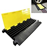 Reliancer 2PC Rubber Traffic Speed Bumps w/ 2 Channel Heavy Duty Modular Driveway Speed Bump Black Yellow Cable Protector Ramp for Garage Loading Dock Parking Lot Entrances Exits for SUV Truck RV Fork