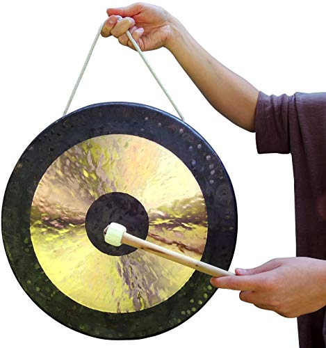 Vinbcorw Original Tam Tam Gong toller Klang, inklusiv Holz-/Baumwollklöppel für Zuhause edles Dekorationselement,50cm