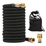 15m/50ft Expandable Garden Hose, Super Durable Fabric Water Hose, 3/4 Nozzle Solid Brass Connector, Non Kink Leakproof Garden Hose/Flexible Expanding Hoses for Watering and Washing [NO Spray]