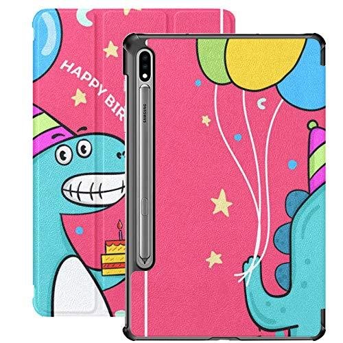 Funda para Galaxy Tab S7 Funda Delgada y Ligera con Soporte para Tableta Samsung Galaxy Tab S7 de 11 Pulgadas Sm-t870 Sm-t875 Sm-t878 2020 Lanzamiento, Lindo cumpleaños de Dinosaurio con Globo y Past