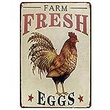 Huevos frescos de granja Placa decartel dechapa de metal Huevo de pollo...
