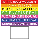 Revtronic We Believe Lawn Sign, Black Lives Matter Science Human Rights Anti-Racism BLM Movement Yard Sign, 2-Sided Print Corrugated Plastic Banner with Metal Stake for Outdoor Patio Garden