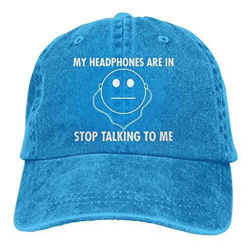 VJSDIUD Los Auriculares con Gorra de Mezclilla Populares Unisex están en Stop Talking Hombres Mujeres Sombrero de Camionero Gorras de béisbol Ajustables Vintage