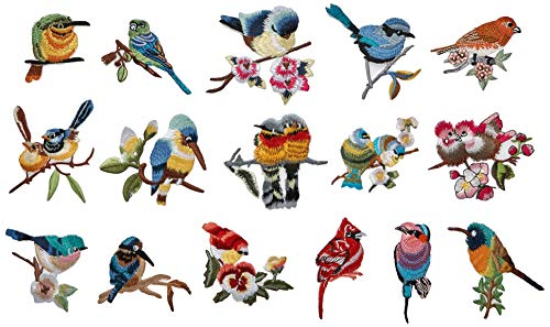 16 Pcs Iron On Cute Embroidery Bird Patches Embroidered Motif Applique Glitter Embroidery Decoration DIY Sew on Patch for Jeans, Clothing (16 Pcs)