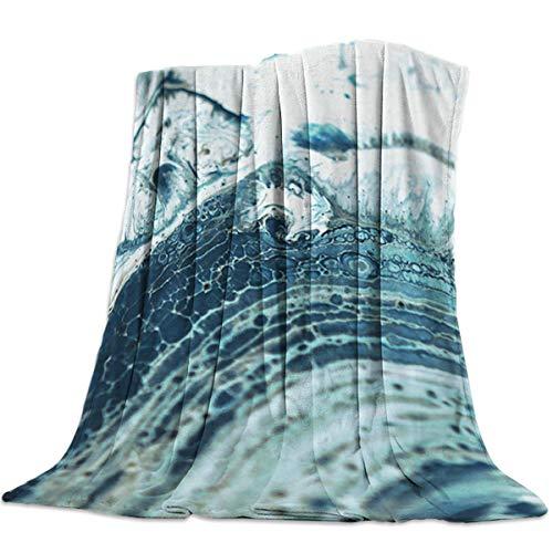 Yaxinduobao Flannel Fleece Bed Manta Warm Fuzzy Plush Fleece Manta Super Soft Cozy Lightweight Bed Mantas - for Bed/Couch/Sofa All SeasonsInk Marble Textured 50x60 Inch