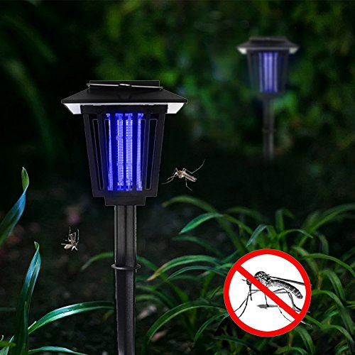 HQOON Solar Bug Zapper, Outdoor Insect/Mosquito/Flying Killer Light, Also Solar Garden Pathway Lights, Hang or Stake in the Ground