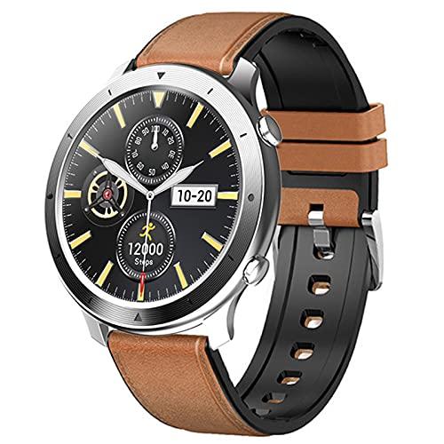 shjjyp Smartwatch Reloj Inteligente Redondo Negro Impermeable Monitor De SueñO Y CaloríA PulsóMetro Muchos Modos De Deportes Notificaciones Inteligentes CaloríA Reloj Deportivo Mujer para Android iOS