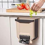Poubelle à suspendre – Poubelle pliable pour cuisine, caravane, camping-car, voiture, etc. Capacité de 9 L, super pratique (chocolat)