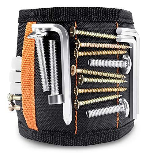 ZB ZealBoom Magnetische Armbänder mit 15 kraftvollen Magneten, Herren Magnetarmband Werkzeugtasche für Schrauben, Bohrer, Nägel, DIY Gadget Gürteltasche für Elektriker, Handwerker, Gartenarbeit