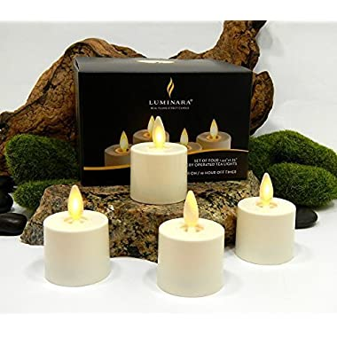 Luminara Tea Lights BATTERY OPERATED Flameless Candles Ivory: 4 PIECE SET - 1.44  x 1.25  w/ Auto-Timer | Batteries Included | Lantern, Patio, Bath, Wedding, Reception, Bridal, Baby, Catering, Events