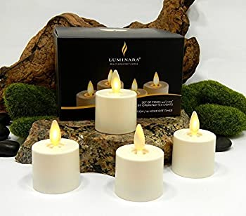 Luminara Tea Lights BATTERY OPERATED Flameless Candles Ivory  4 PIECE SET - 1.44  x 1.25  w/ Auto-Timer   Batteries Included   Lantern Patio Bath Wedding Reception Bridal Baby Catering Events