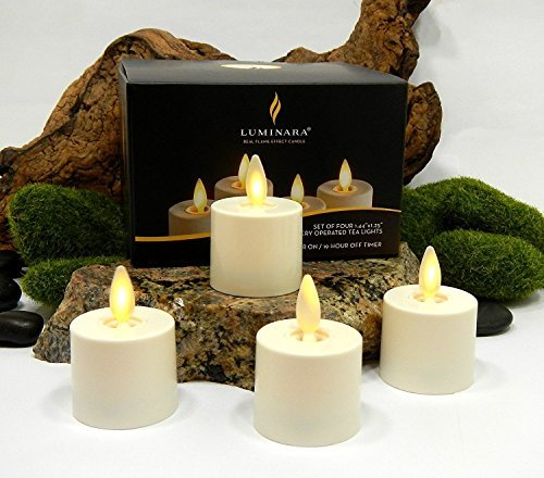 Luminara Tea Lights BATTERY OPERATED Flameless Candles Ivory: 4 PIECE SET - 1.44' x 1.25' w/ Auto-Timer | Batteries Included | Lantern, Patio, Bath, Wedding, Reception, Bridal, Baby, Catering, Events