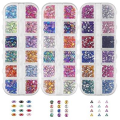 Nagelkunst-Strasssteine 36 Stile bunt