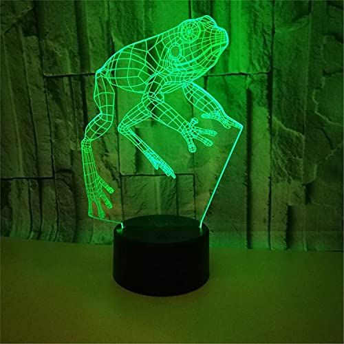 SLJZD luz de noche Lámpara De Noche Usb 3D Con Diseño De Rana, Multicolor Para Decoración De Bodas, 7 Colores, Luz Led Para Cabecera, Regalo De Cumpleaños Para Amigos Con Control Remoto