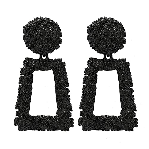 Pendientes colgantes de gota de metal grandes vintage para mujer Joyería geométrica de fiesta Pendientes grandes y llamativos-Negro