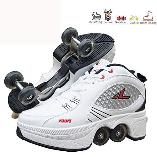 LRZ 2 in 1 Multifunktional Einstellbar Sneaker Unisex Deformation Schuhe Skate Skateboard Mit Rollen Shoes Laufschuhe Anfänger Jungen Mädchen,35