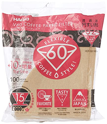 Hario V60 Filter Papers - Paper Coffee Filters for V60 Dripper, Compatible with Size 02, Natural, 100 Pack