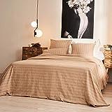 LA MALLORQUINA Colcha - Olbia (Cama 180 o 200cm - 260x270cm - Marrón) | Colcha Entretiempo Multiusos de Diseño