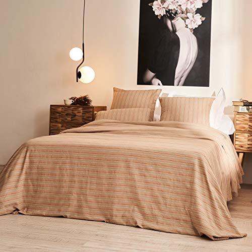 LA MALLORQUINA Colcha - Olbia (Cama 150 o 160cm - 240x260cm - Marrón) | Colcha de Verano y Entretiempo Multiusos de Diseño