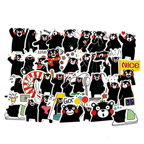 Hand Account Cartoon Cute Emoticon Bag Kumamoto Bear Sticker Suitcase Water Cup Foreign Trade Children Waterproof Sticker 40pcs