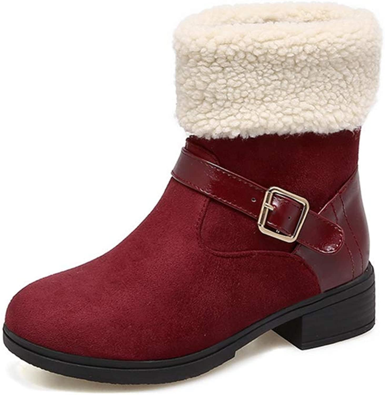 Exclusive shoesbox Women's Winter Fur Ankle Boots Buckle Suede Low Heel Platform Martin Bootie Comfy Warm Short Snow Boot