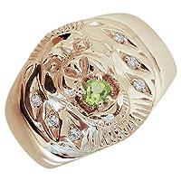 [プレジュール]ライオン ペリドット メンズ K18ピンクゴールド 指輪 アニマルリング リングサイズ15号