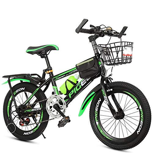 TATANE Kinderfahrräder, 6-13 Jahre alt Jungen und Mädchen Fahrräder, 20-22 Zoll Primary School Students Variable Speed Mountain Bikes,Grün,22inch