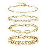 Gold Chain Bracelet Sets for Women Girls 14K Gold Plated Dainty Link Paperclip Choker Bracelet Stack Gold Small Ball Beads Bracelets Adjustable Layered Metal Link Bracelet (Style-2)…