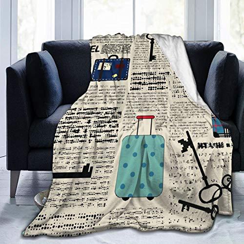Qtchenglj Manta de Microfibra Ultra Suave, Estilo Retro, Viaje, Tema Vaion, Maletas Vintage, Llaves, Texto de Puntos, decoración del hogar, cálida Manta para sofá Cama de 80 'x 60'