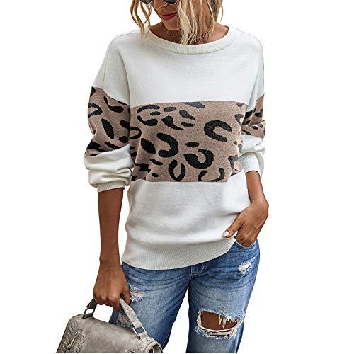 YZANYFQH OtoñO/Invierno Mujer Estampado De Leopardo Cuello Redondo SuéTer Mujer