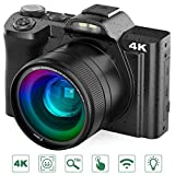 videocamera digital, rokurokuroku 4k fotocamera digitale compatta ultra hd wi-fi videocamera vlogging, 48 mp, 16x digital zoom, lcd inclinabile 3,5, video recording, 2 batterie, nero