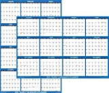 32' x 48' SwiftGlimpse 2021 Wall Calendar Erasable Large XL Wet & Dry Erase Laminated 12 Month Annual Yearly Wall Planner, Reversible, Navy