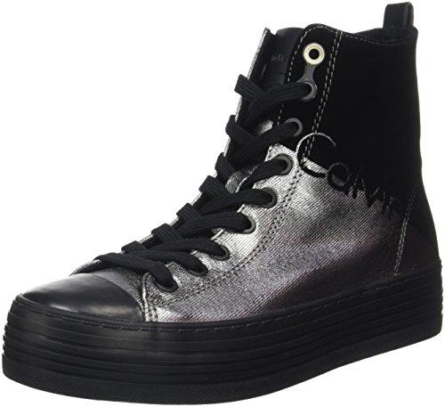 Calvin Klein Zazah Metal Canvas/Flocking, Sneaker Donna, Multicolore (Pewter/Black), 38 EU