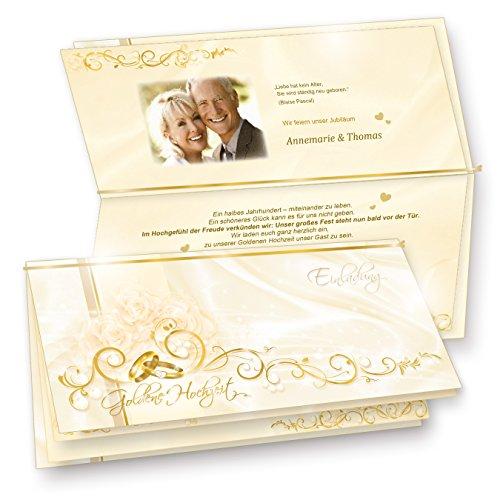 Hochzeitskarten Goldene Hochzeit (40 Sets) hinreissend - fein abgestimmte Einladungskarten. Set mit 40 Karten, 40 Umschläge, 40 Einlegeblätter zum Selbstbedrucken + Goldbändchen - sehr elegant!