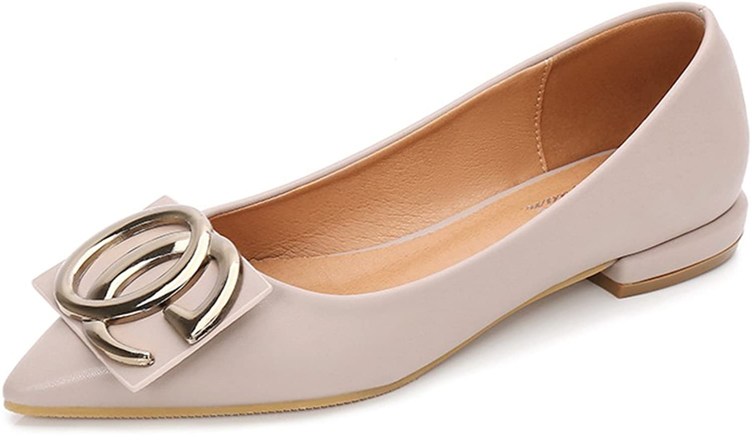 Xiaoyang Women Leather Look Ballet Flat Slip On Solid color with Grosgrain Bow for All Occasion Versatility