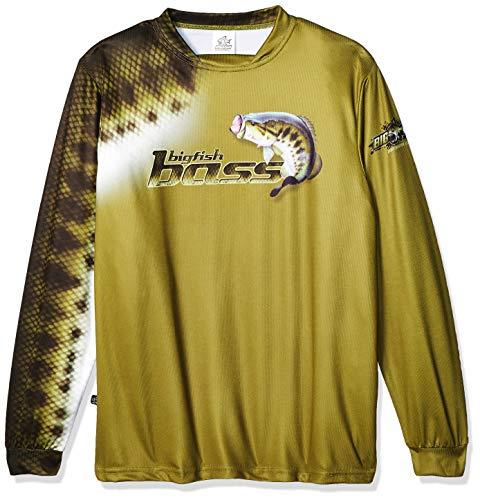 Bigfish BASS Scales Olive UPF50 Long Sleeve Performance Fishing Shirt