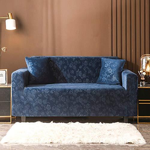 ASCV Funda de sofá elástica Gruesa de Felpa de Color sólido Funda de sofá elástica seccional Universal para Sala de Estar A3 2 plazas