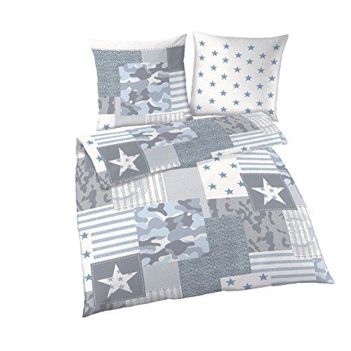 CAMOUFLAGE Bettwäsche Set aus 100 % Baumwolle · Patchwork Camo Dessin · 2 teilig · Kissenbezug 80x80 + Bettbezug 135x200 cm · made in Germany · grau, blau , jeans, denim