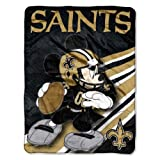 Officially Licensed NFL New Orleans Saints Co-Branded Mickey Mouse Micro Raschel Throw Blanket, 46' x 60', Multi Color