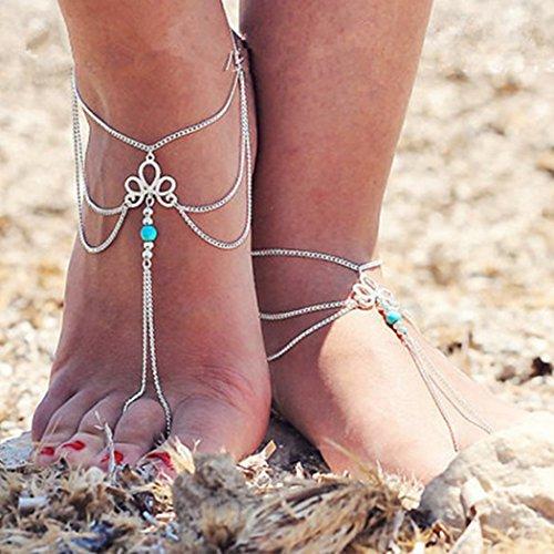 Jovono Fußkettchen mit türkisfarbener Quaste für Damen und Mädchen...
