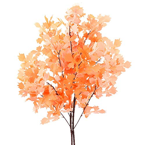 WEIZI 35.4 Inch Artificial Maple Plant Bundle 2 Pieces Fake Shurbs Fall for Indoor Outdoor Home Kitchen Garden Wedding Table Centerpiece Fall
