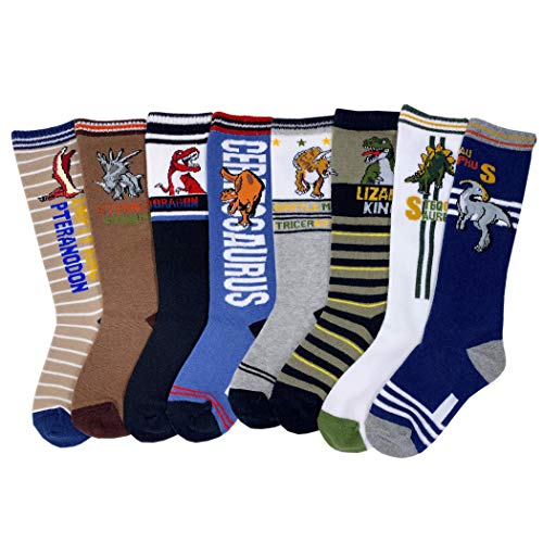 Czofnjesi Boys Knee High Tube Socks Dinosaur Comfort Cotton Stockings Socks 8 Pair Pack