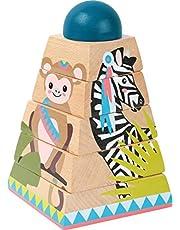 small foot 11090 puzzle wieża Jungle z drewna, certyfikat FSC 100%, zabawka dla dzieci od 12 miesięcy, wielokolorowa