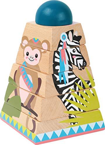small foot 11090 Würfelpuzzle-Turm Jungle aus Holz, FSC 100%-Zertifiziert, ab 12 Monaten Spielzeug, Mehrfarbig