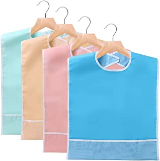 Sumnacon Reusable Waterproof Adult Bibs Set of 4 with Crumb Catcher- Machine Washable, Large Extra Long Mealtime Protector, Dining Bibs with Crumb Catcher, 4 Colors