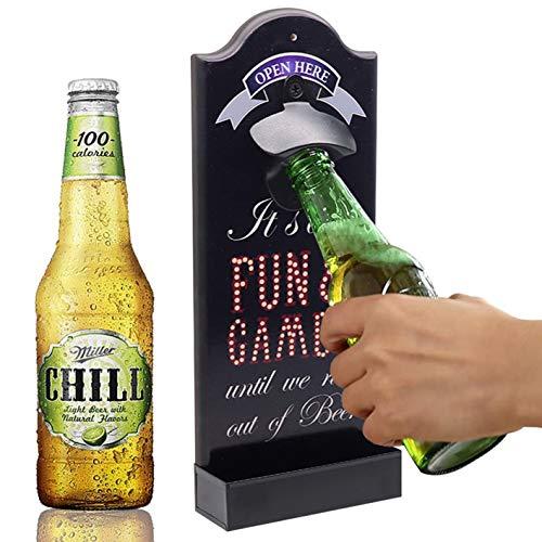 OLT-EU Abrebotellas de Pared, Abrebotellas Cerveza Madera Retro con Cap Collector para...